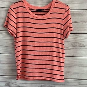 American Eagle Striped Short Sleeve Soft Sweater